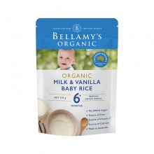 【澳有三仓】 Bellamy's 贝拉米有机婴儿辅食大米米粉 6个月以上 牛奶香草口味 125g 一袋40包邮,三袋起35元包邮!