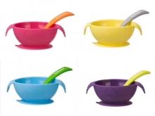 【澳有三仓】儿童宝宝餐具吸盘碗吸力强防摔婴儿辅食碗训练吃饭碗勺套装4色 103包邮三个起96元包邮
