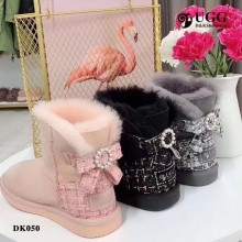 【国内发货】DK050小香风蝴蝶结饰扣雪地靴 团购价:339  代理价:349