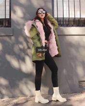 【国内发货】AU192027 皮草 军绿色+经典粉色狐狸毛