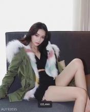 【国内发货】AU192035 皮草 军绿色+彩虹V形线条狐狸毛