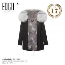 【国内发货】ED191018  皮草 黑壳+银灰蓝波浪纹狐狸毛