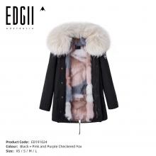 【国内发货】ED191024 皮草 黑壳+粉紫条纹拼接狐狸毛